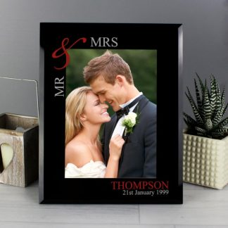 Personalised Ruby Couple's 7x5 Black Glass Photo Frame