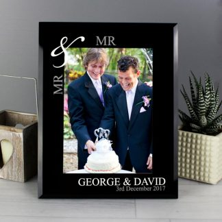Personalised Silver Couple's 7x5 Black Glass Photo Frame