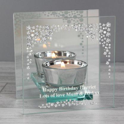 Personalised Diamante Mirrored Glass Tea Light Holder