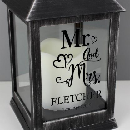 Personalised Mr and Mrs Rustic Black Lantern