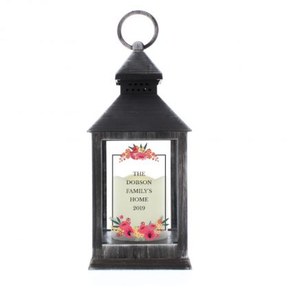 Personalised Floral Rustic Black Lantern