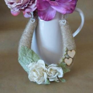 Personalised Handmade Rustic Twine Wedding Horseshoe Ivory