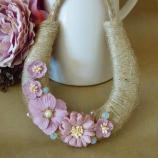 Handmade Rustic Twine Wedding Horseshoe with Pink Paper Flowers