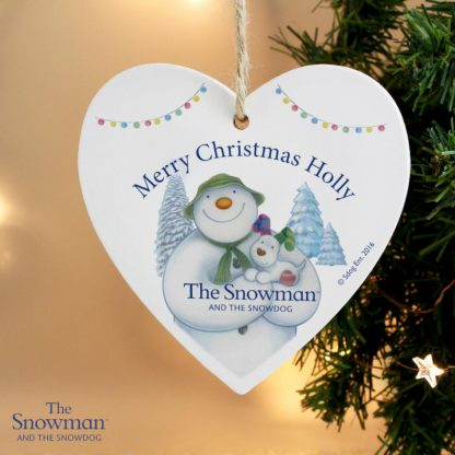 Personalised The Snowman & The Snowdog Heart Decoration