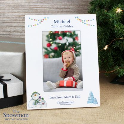 Personalised The Snowman & The Snowdog White 6x4 Photo Frame