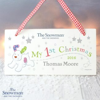 Personalised The Snowman & The Snowdog My 1st Christmas Wooden Sign