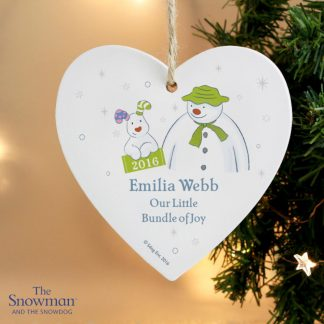 Personalised The Snowman & The Snowdog 1st Christmas Heart Decoration