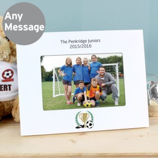 Personalised Football 6x4 White Wooden Landscape Photo Frame