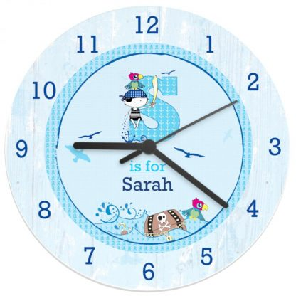 Personalised Pirate Shabby Chic Large Wooden Clock