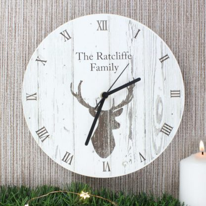 Personalised Highland Stag Wooden Clock