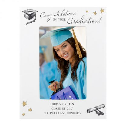 Personalised Gold Star Graduation 6x4 White Wooden Photo Frame