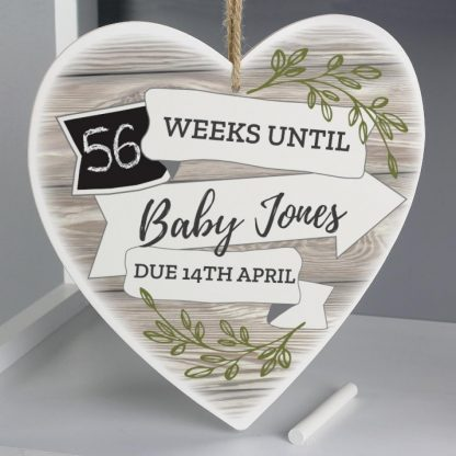 Personalised White Arrow Banner Chalk Countdown 22cm Wooden Heart Decoration