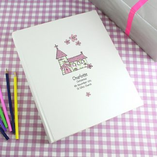 Personalised Whimsical Pink Church Traditional Photo Album