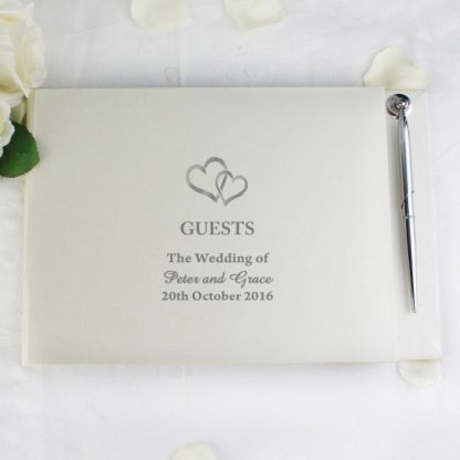Personalised Hearts Design Guest Book & Pen
