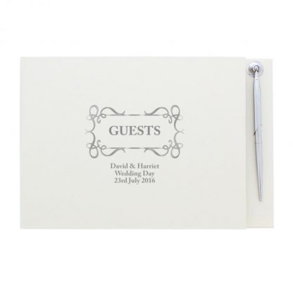 Personalised Swirl Design Guest Book & Pen