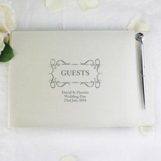 Personalised Swirl Design Guest Book & Pen