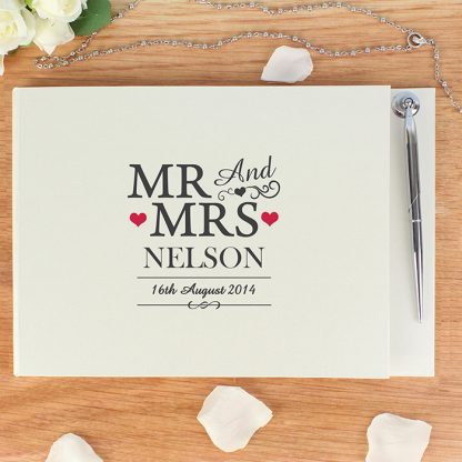 Personalised Mr & Mrs Guestbook & Pen