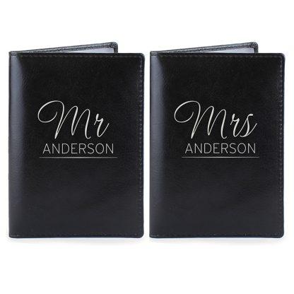 Personalised Mr & Mrs Black Passport Holders