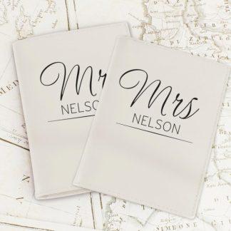 Personalised Classic Mr & Mrs Cream Passport Holders