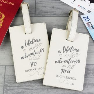 Personalised 'Lifetime of Adventures' Mr and Mrs Luggage Tags