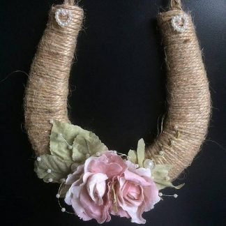 Personalised Handmade Rustic Twine Wedding Horseshoe Pink