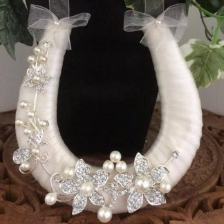 Handmade Bridal Ivory Diamante & Pearl Wedding Horseshoe