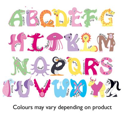 Personalised Pink Animal Alphabet Swim Bag