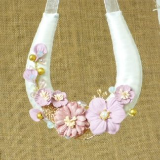 Wedding Horseshoe Ivory Ribbon Handmade with Pink Paper Flowers