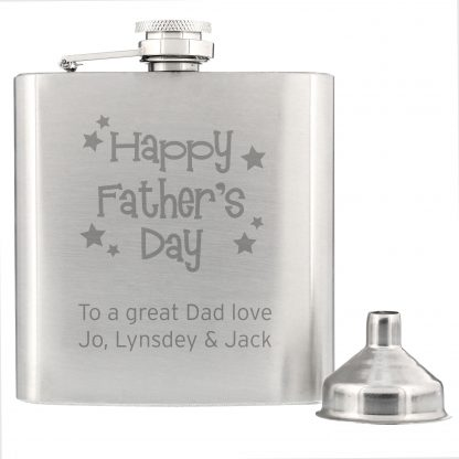 Personalised Fathers Day Stainless Steel 6oz Hip Flask