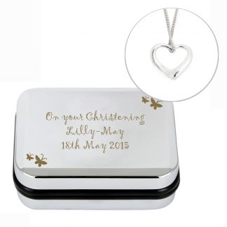 Personalised Heart Necklace & Butterfly Box