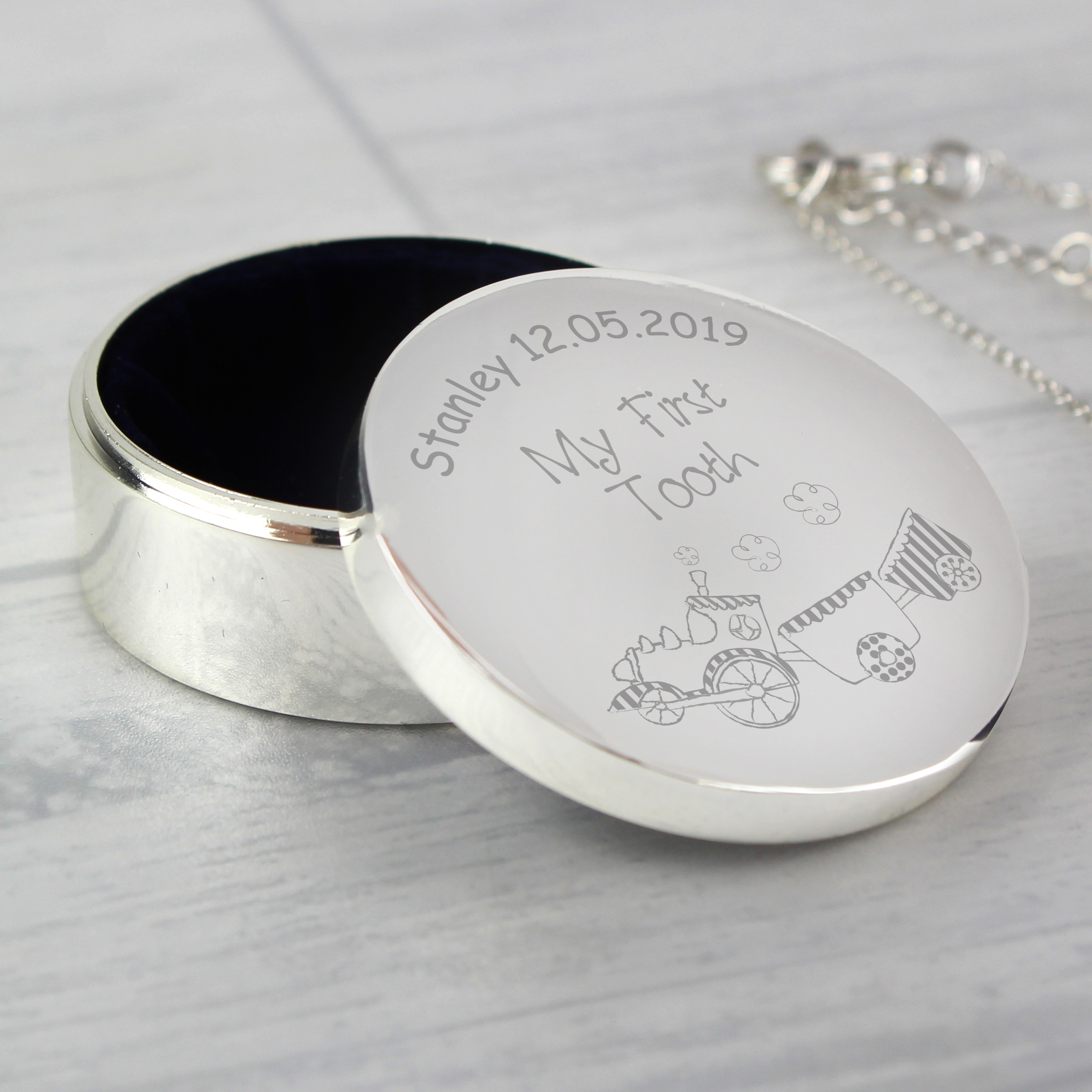 cd3a443a8a Personalised Train My First Tooth Trinket Box - Just The Right Gift