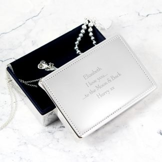 Personalised Silver Rectangular Jewellery Box