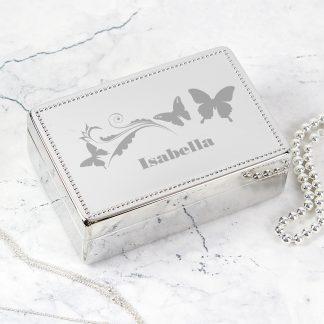 Personalised Butterfly Swirl Rectangular Jewellery Box
