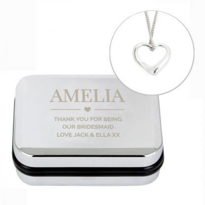 Personalised Box and Heart Necklace