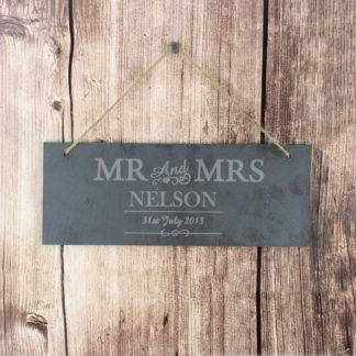 Personalised Mr & Mrs Slate Door Sign