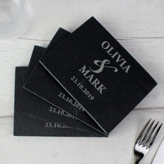 Personalised Couples Pack of 4 Slate Coasters