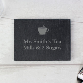 Personalised Hot Drink Motif Slate Coaster