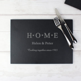 Personalised HOME Rectangle Slate Placemat