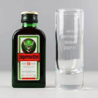 Personalised Shot Glass and Miniature Jagermeister