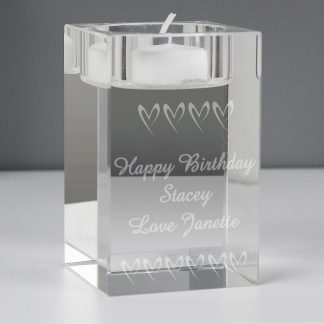 Personalised Small Hearts Tealight Holder