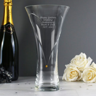 Personalised Hand Cut Heart Vase with Gold Swarovski Elements