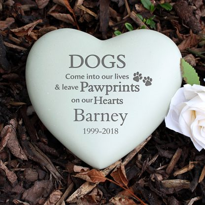 Personalised Dog Paw Prints Heart Memorial Stone