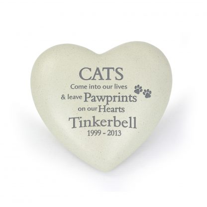 Personalised Cat Pawprints Heart Memorial Stone