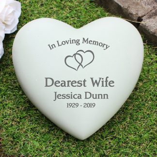 Personalised Floating Hearts Heart Memorial Stone