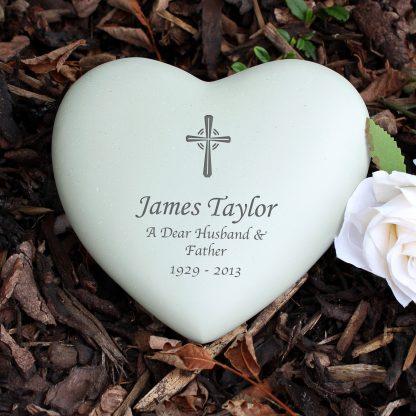 Personalised Cross Heart Memorial Stone