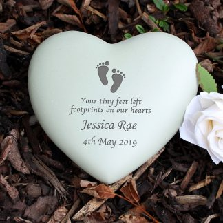Personalised Footprints Heart Memorial Stone