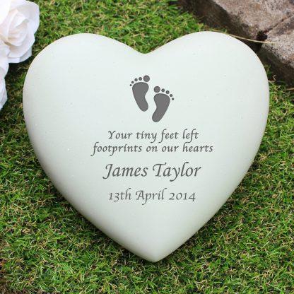 Personalised Footprints Heart Memorial Stone