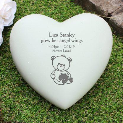 Personalised Teddy Bear Heart Memorial Stone