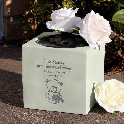 Personalised Teddy Bear Memorial Vase