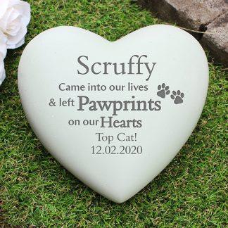 Personalised Pet Pawprints Heart Memorial Stone